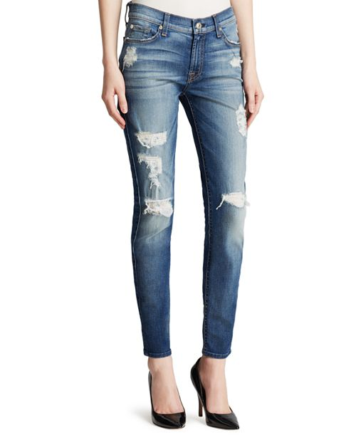 7 For All Mankind - The Ankle Skinny Destruction Jeans in Distressed Authentic Light