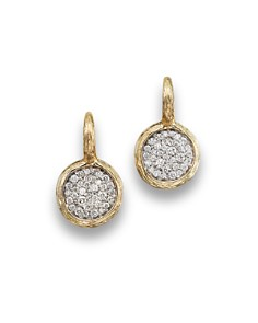 Pavé Diamond Circle Drop Earrings In 14k Yellow Gold 75 Ct T W
