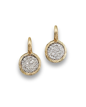 Pave Diamond Circle Drop Earrings in 14K Yellow Gold, .75 ct. t.w. - 100% Exclusive
