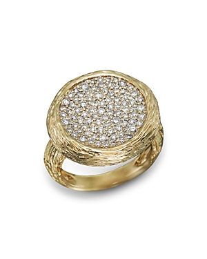 Pave Diamond Circle Statement Ring in 14K Yellow Gold, .90 ct. t.w. - 100% Exclusive