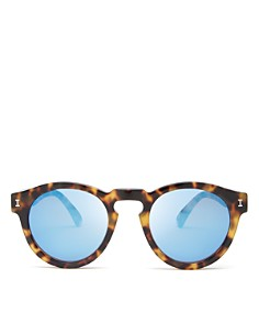 Illesteva - Women's Leonard Mirrored Round Sunglasses, 48mm