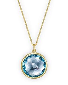 IPPOLITA - 18K Lollipop® Medium Round Pendant Necklace in Blue Topaz