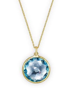 Ippolita 18K Lollipop Medium Round Pendant Necklace in Blue Topaz, 16-18