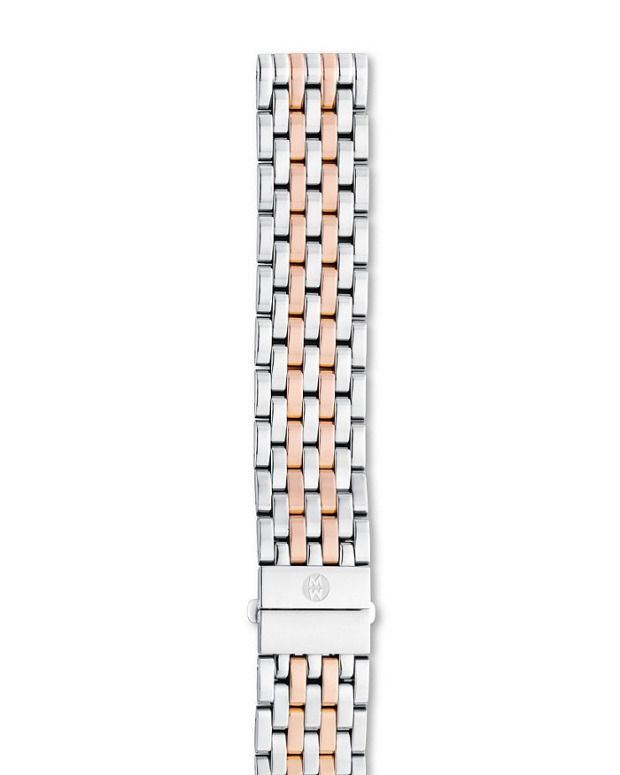 MICHELE - Deco/Deco Mid/Deco Madison/Deco Madison Mid  Two-Tone Stainless Steel & Rose Gold 7-Link Watch Bracelet, 16-18mm
