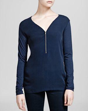 The Kooples Top - Silk and Jersey Zip Front
