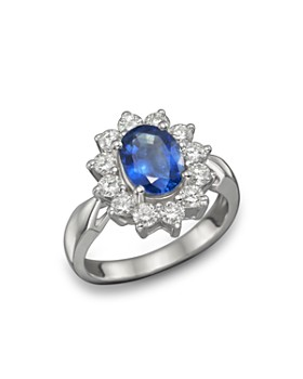 Bloomingdale's - Blue Sapphire and Diamond Statement Ring in 14K White Gold- 100% Exclusive