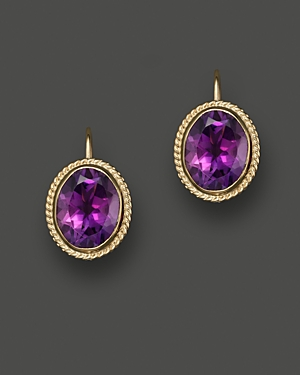 14K Yellow Gold Bezel Set Large Drop Earrings with Amethyst - 100% Exclusive
