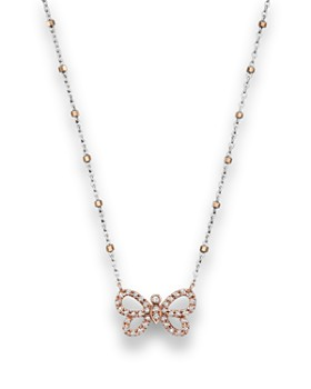 Bloomingdale's - Diamond Butterfly Pendant Necklace in 14K Rose and White Gold, .14 ct. t.w.- 100% Exclusive
