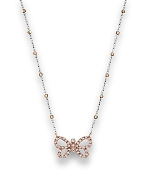 Diamond Butterfly Pendant Necklace in 14K Rose and White Gold, .14 ct. t.w. - 100% Exclusive