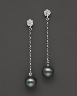 Cultured Tahitian Pearl and Diamond Drop Earrings in 14K White Gold, 9mm