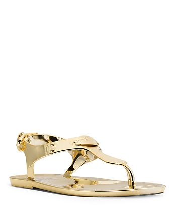 d6c713be52b MICHAEL Michael Kors - Women s Flat Thong Sandals - MK Plate Jelly Metallic