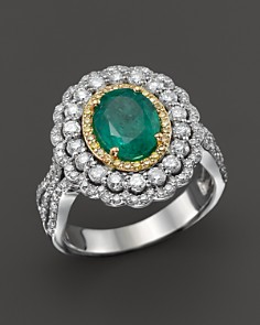 Emerald, Yellow Diamond and White Diamond Ring in 14K White and Yellow Gold - 100% Exclusive - Bloomingdale's_0
