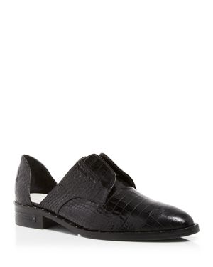 FREDA SALVADOR Women'S Wear Laceless D'Orsay Croc-Embossed Leather Oxfords in Black Croc Embossed Leather