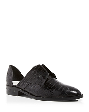 Women's Wear Laceless Croc-Embossed d'Orsay Leather Oxfords