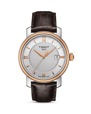 TISSOT Bridgeport Leather Strap Watch, 40Mm in Brown/ Silver/ Rose Gold