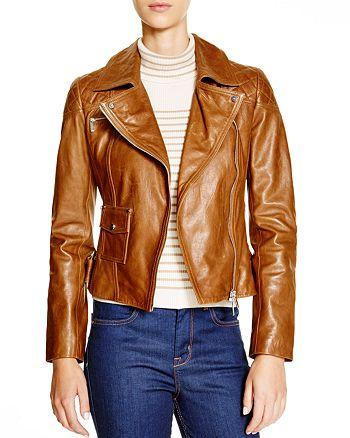 KAREN MILLEN - Leather Biker Jacket - Bloomingdale's Exclusive
