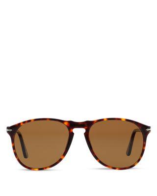PERSOL Men'S Polarized Icons Collection Evolution Pilot Sunglasses, 55Mm in Havana/Brown Polar