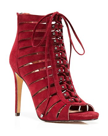 VINCE CAMUTO - Fionna Lace Up Open Toe High-Heel Booties