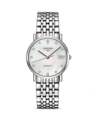Elegant Automatic Diamond Bracelet Watch, 25.5Mm in Silver/ Mop/ Silver