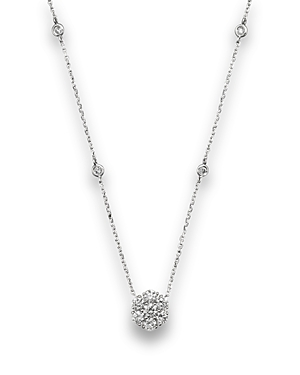 Diamond Flower Cluster Pendant Necklace in 14K White Gold, .80 ct. t.w. - 100% Exclusive