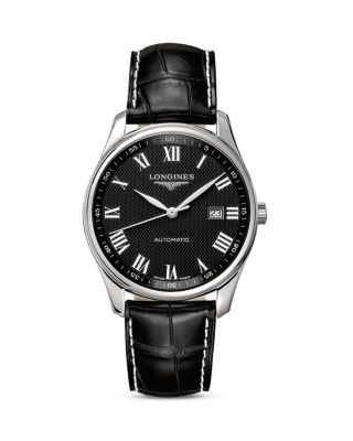 MASTER AUTOMATIC LEATHER STRAP WATCH, 42MM