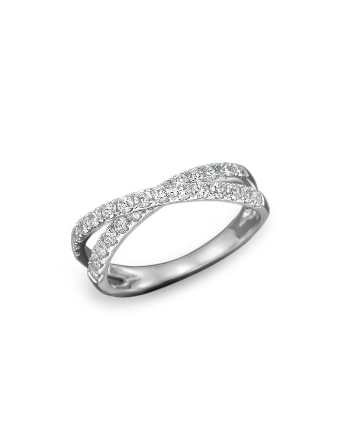 Bloomingdale's Diamond Crossover Band Ring in 14K White Gold, .75 ct. t.w. - 100% Exclusive    Bloomingdale's