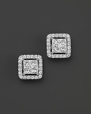 Diamond Princess Cut Halo Stud Earrings in 14K White Gold, .75 ct. t.w. - 100% Exclusive