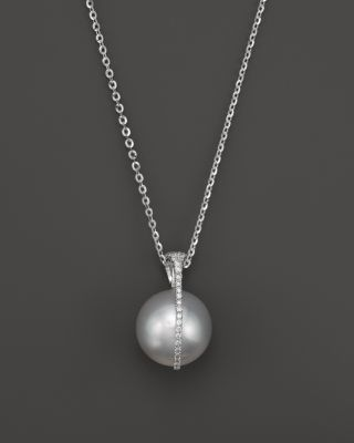 TARA PEARLS South Sea Cultured Pearl And Diamond Pendant Necklace In 18K White Gold, 15