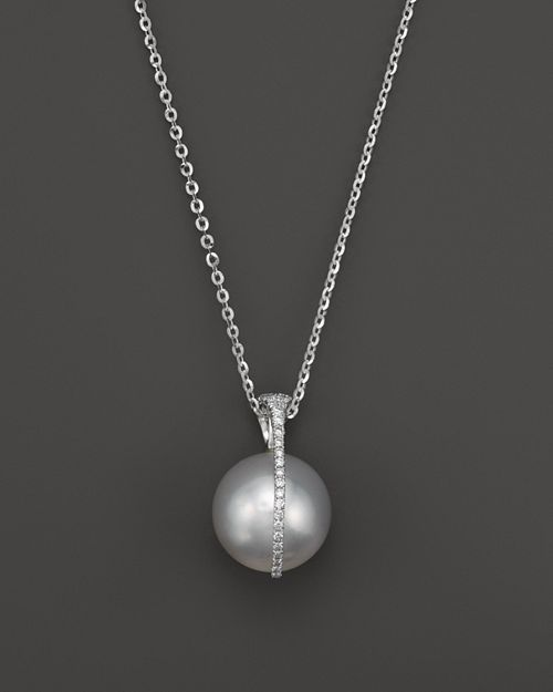 Tara Pearls - South Sea Cultured Pearl and Diamond Pendant Necklace in 18K White Gold, 15""