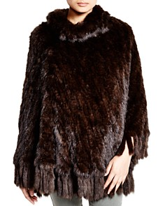Maximilian Knitted Sable Poncho with Fringe Trim - 100% Exclusive - Bloomingdale's_0