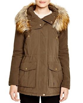 DKNY - Faux Fur Trim Hooded Anorak