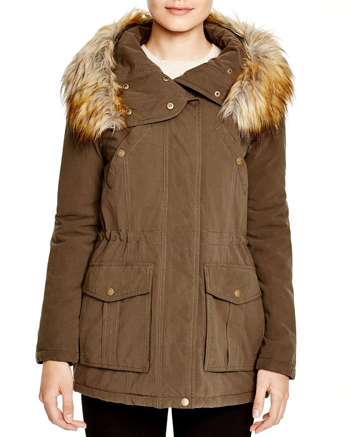 5cbc54b8b DKNY Faux Fur Trim Hooded Anorak | Bloomingdale's