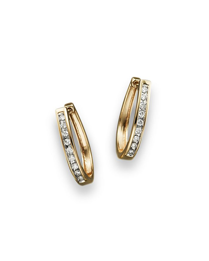 Bloomingdale's - Diamond Channel Set Oval Hoop Earrings in 14K Yellow Gold, .20 ct. t.w. - 100% Exclusive