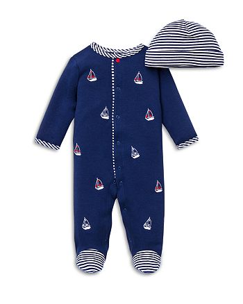 Little Me - Boys' Sailboats Footie & Hat Set - Baby