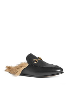Gucci - Women's Princetown Leather and Lamb Fur Mules