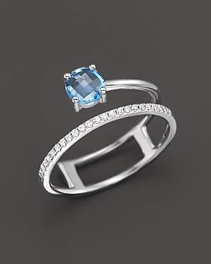 Blue Topaz and Diamond Ring in 14K White Gold - 100% Exclusive