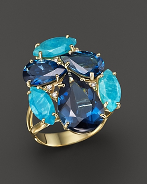 Vianna Brasil 18K Yellow Gold Ring with Amazonite, London Blue Topaz and Diamond Accents