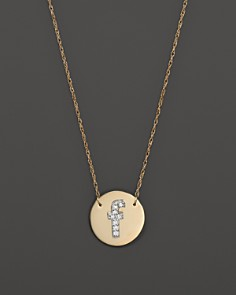 """Jane Basch - Jane Basch 14K Yellow Gold Circle Disc Pendant Necklace with Diamond Initial, 16"""""""