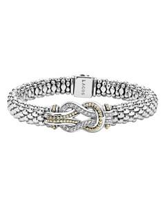 LAGOS - LAGOS Sterling Silver and 18K Gold Newport Diamond Caviar Bracelet