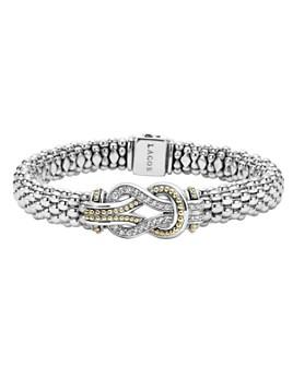 LAGOS - LAGOS Sterling Silver and 18K Gold Newport Diamond Caviar Bracelet