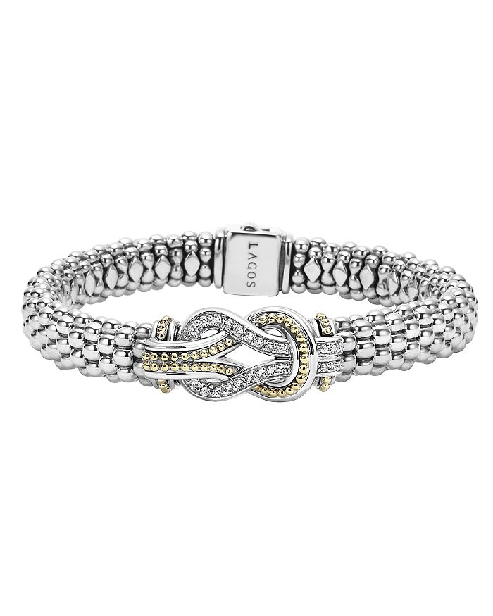 LAGOS - Sterling Silver and 18K Gold Newport Diamond Caviar Bracelet