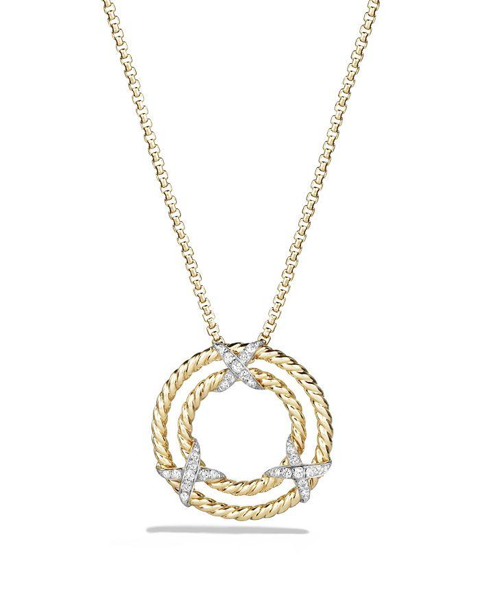 David Yurman X Pendant Necklace With Diamonds In 18K Yellow Gold