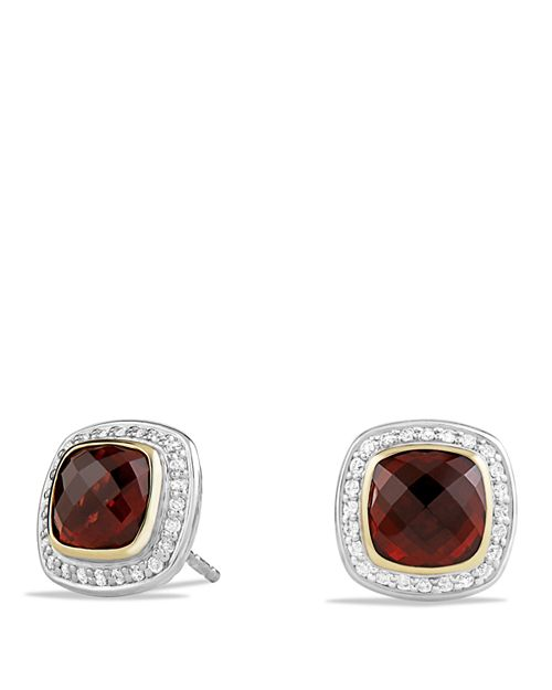 David Yurman Albion Earrings With Garnet And Diamonds 18k Gold