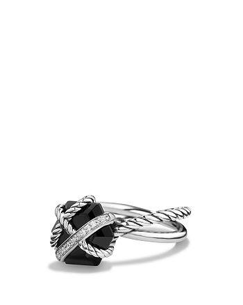 David Yurman - Petite Cable Wrap Ring with Black Onyx and Diamonds