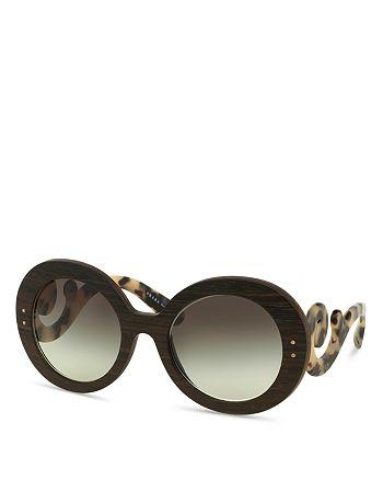 Prada Womens Wooden Baroque Round Sunglasses Bloomingdales