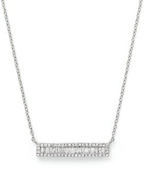 Bloomingdale's - Diamond and Baguette Bar Necklace in 14K White Gold, .30 ct. t.w. - 100% Exclusive