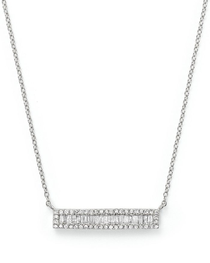 Bloomingdale's - Diamond and Baguette Bar Necklace in 14K White Gold, .30 ct. t.w.- 100% Exclusive