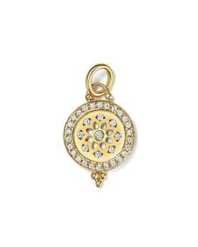 Temple St. Clair - 18K Gold Halo Mandala Cutout Pendant with Pavé Diamonds