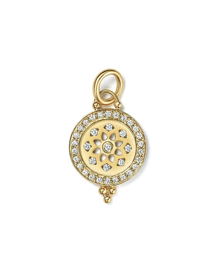 Temple St. Clair - 18K Gold Halo Mandala Cutout Pendant with Pavé Diamonds