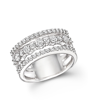 Diamond Triple Row Band Ring in 14K White Gold, 1.0 ct. t.w. - 100% Exclusive